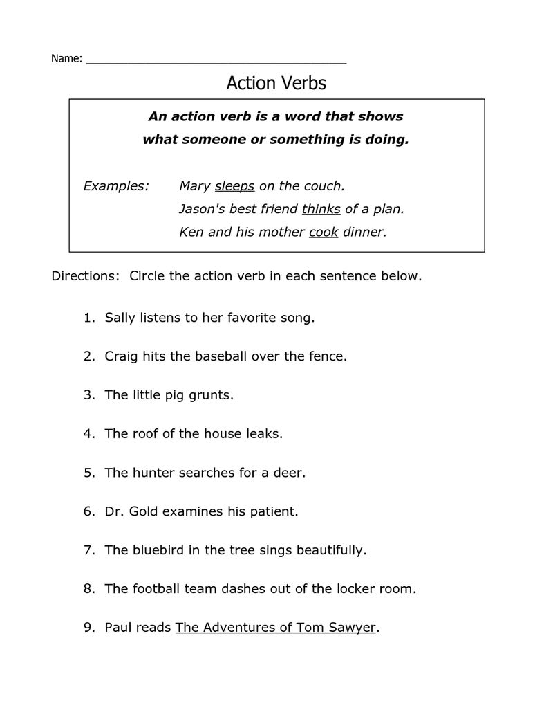 First Grade English Worksheets Verbs