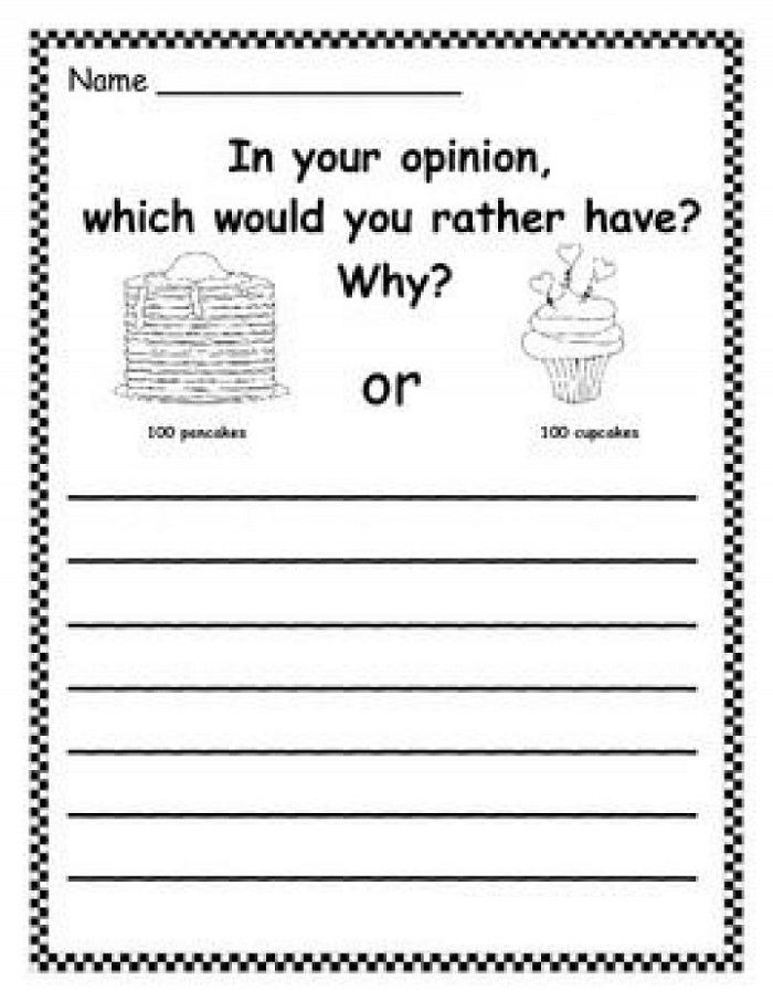 First Grade Writing Worksheets Opinion