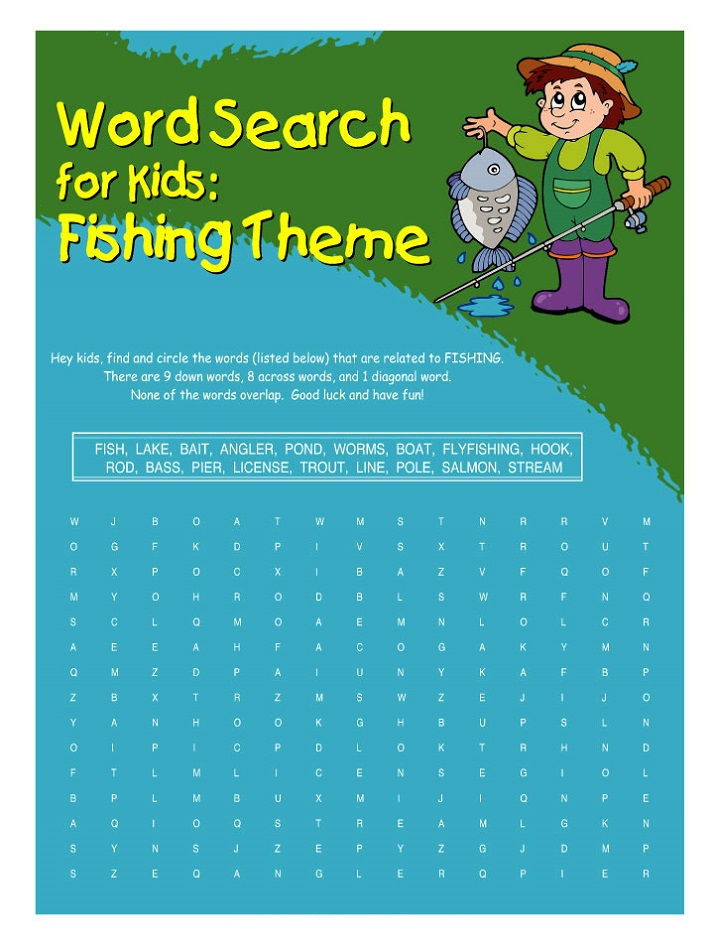 Fish Word Search Blue
