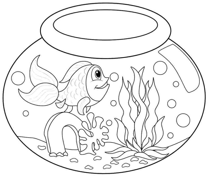 Fishbowl Kindergarten Coloring Pages