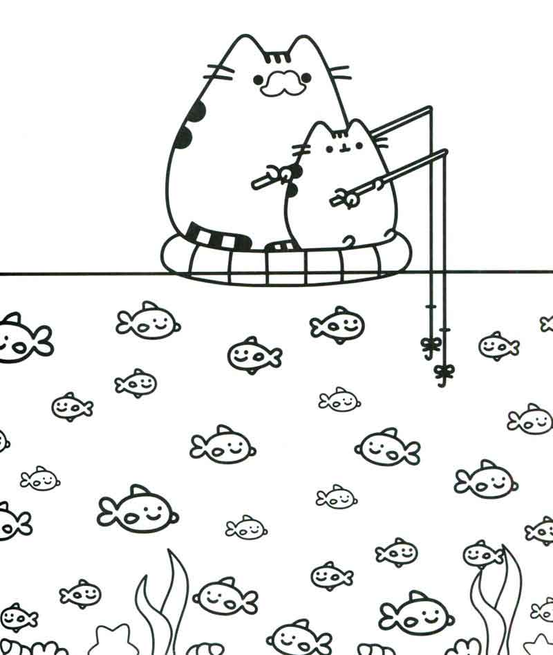 Fishing Pusheen Cat Coloring Pages