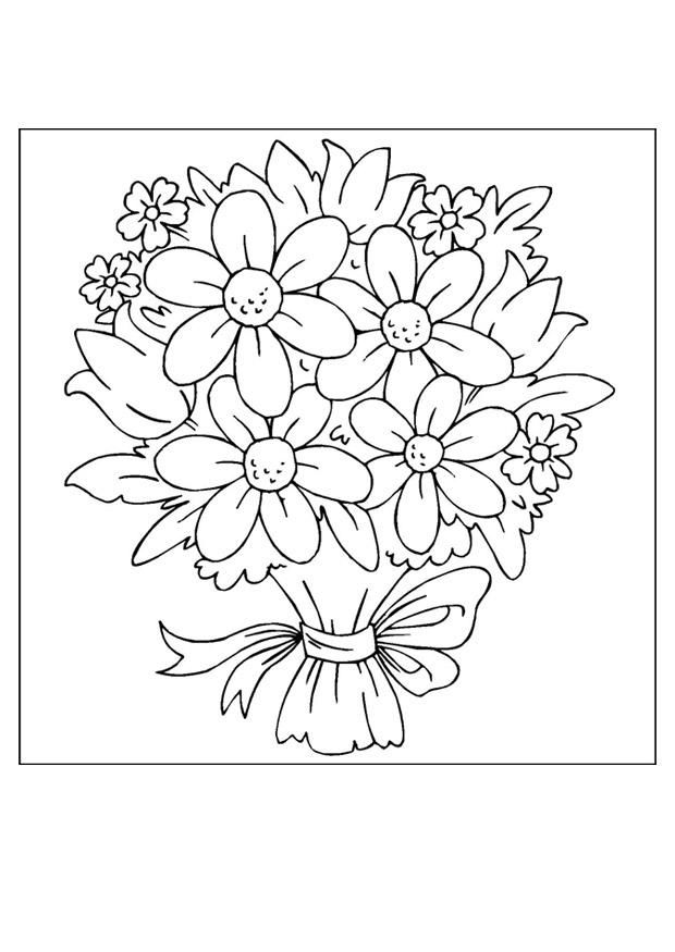 Flower Bouquet Coloring Pages 001