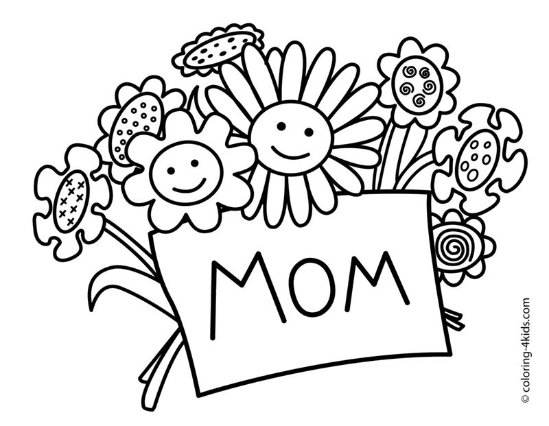 Flower Bouquet For Mom Coloring Page