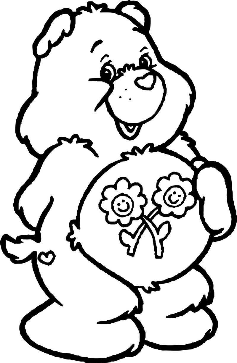 Flower Care Bears Coloring Page