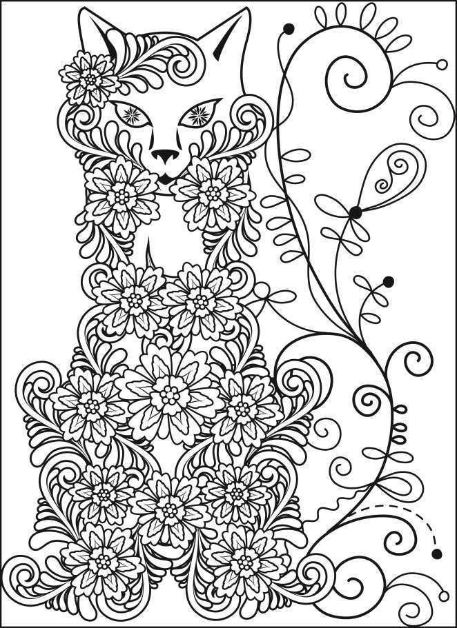 Flower Cat Coloring Page For Adults