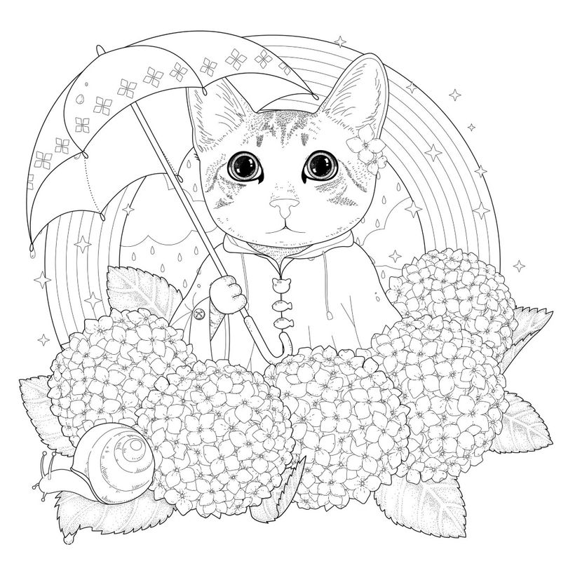 Flower Cat With Rainbow Coloring Page For Adults