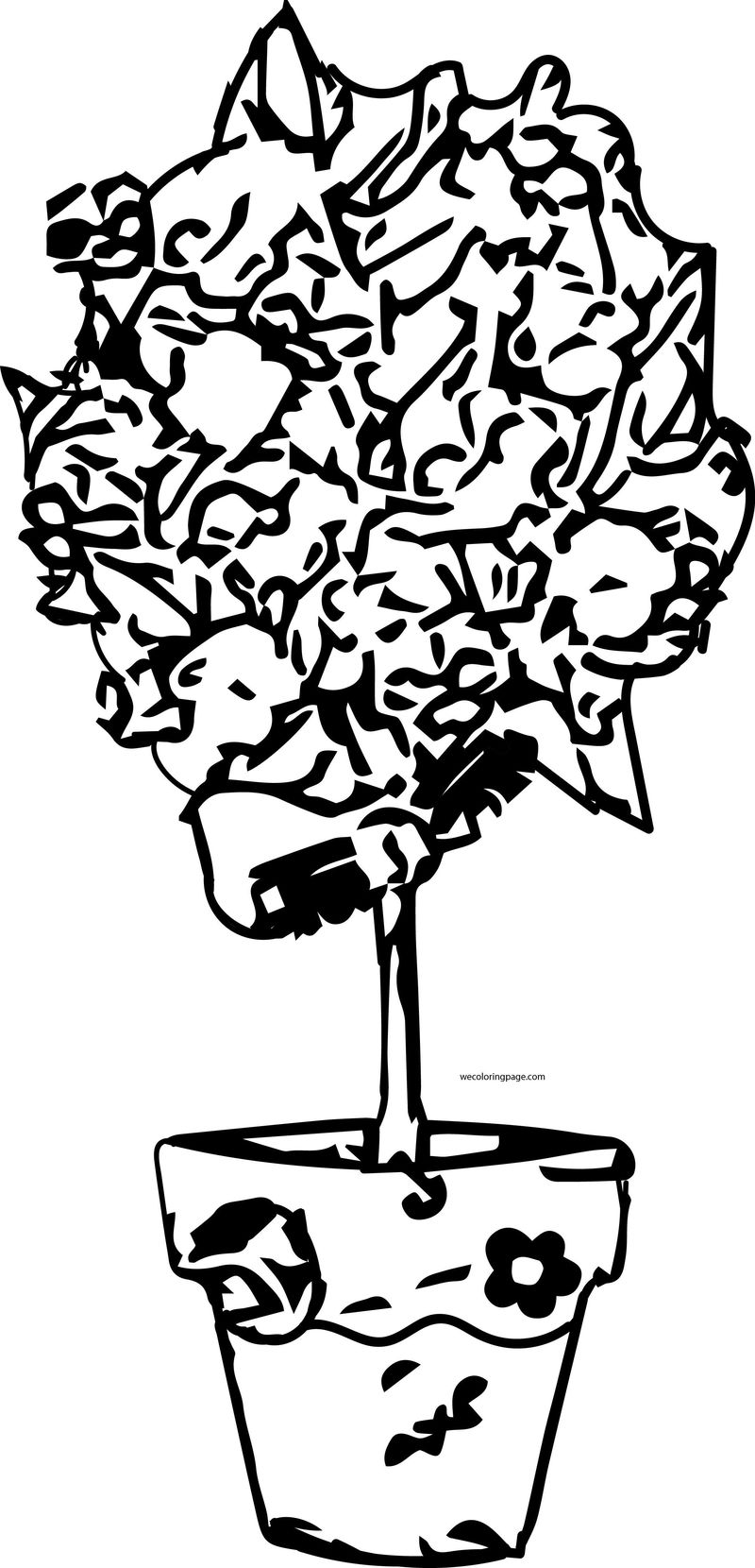 Flower Flowerpot Tree Coloring Page