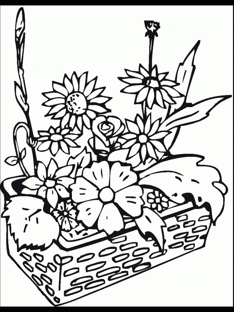 Flower Garden Harvest Coloring Page