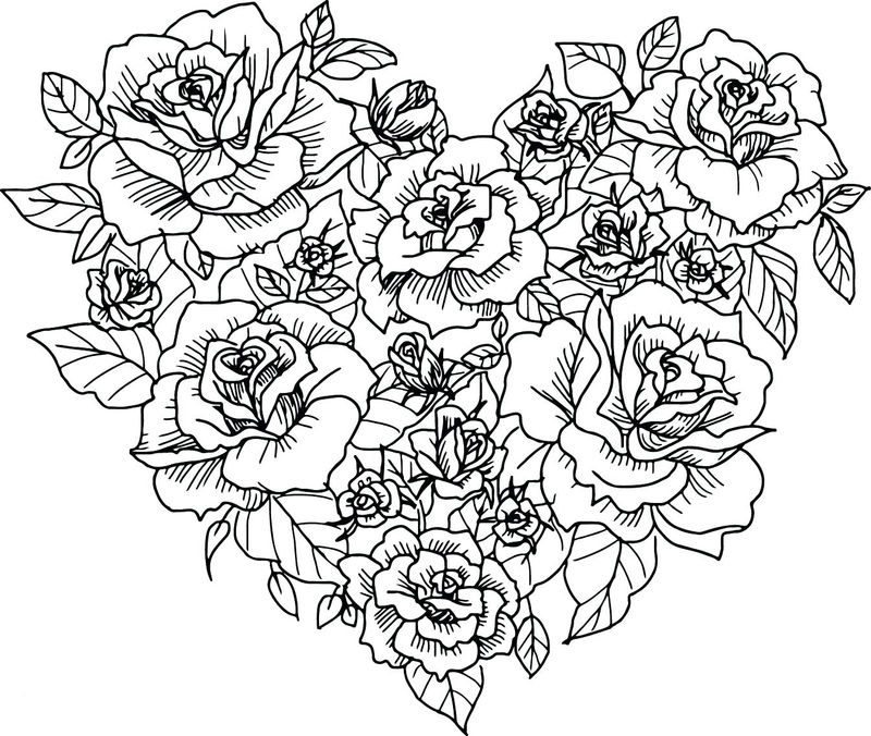 Flower Heart Coloring Pages For Adults