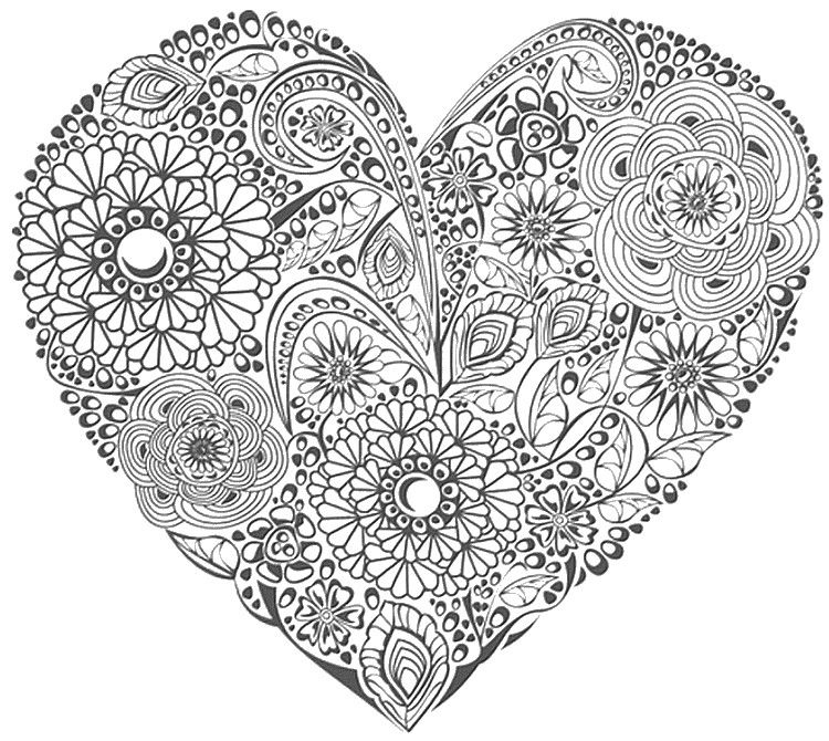 Flower Heart Valentines Day Coloring Page