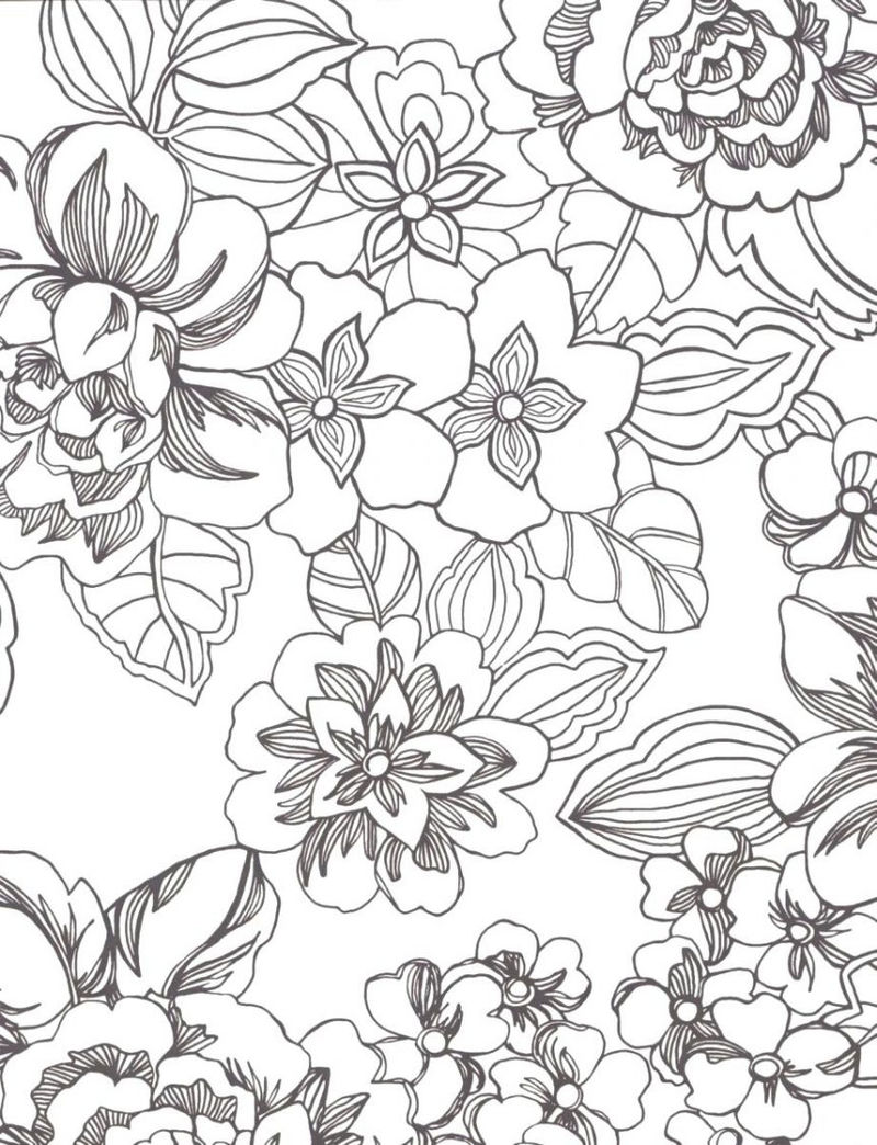Flower Print Coloring Pages For Adults