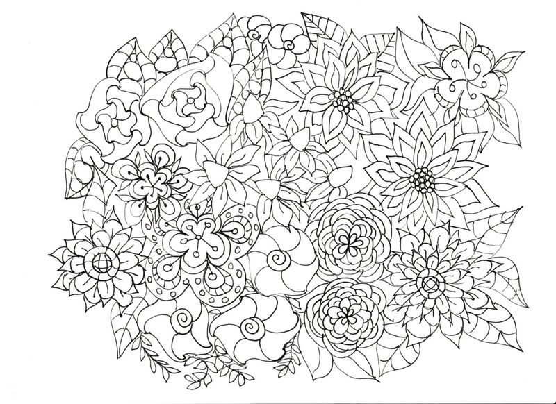Flower Sketch For Adults To Color