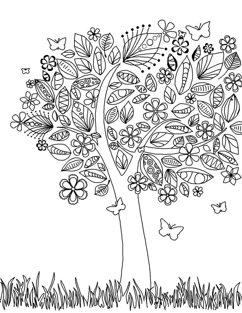 Flower Tree Coloring Pages For Adults