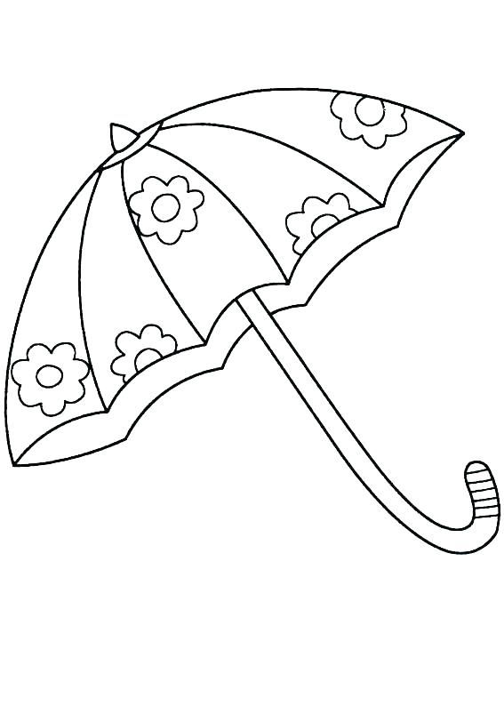 Flower umbrella coloring page