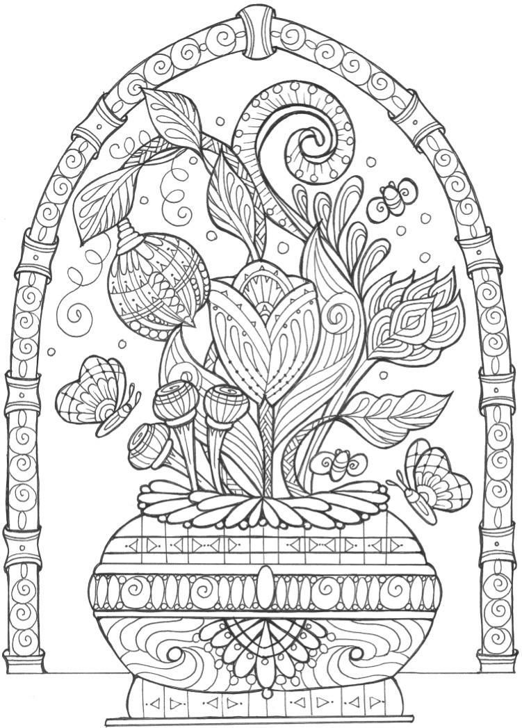 Flower Vase Coloring Pages For Adults