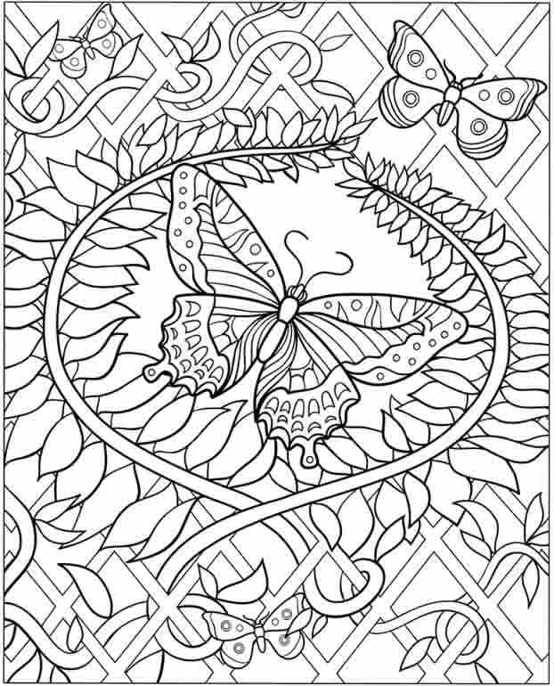 Flower Vine And Butterfly Coloring Page