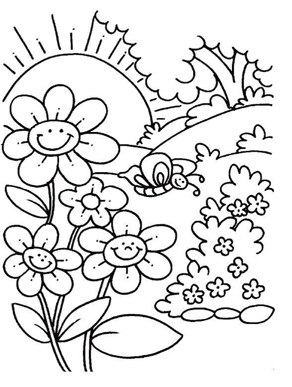 Flowers In Spring Coloring Page