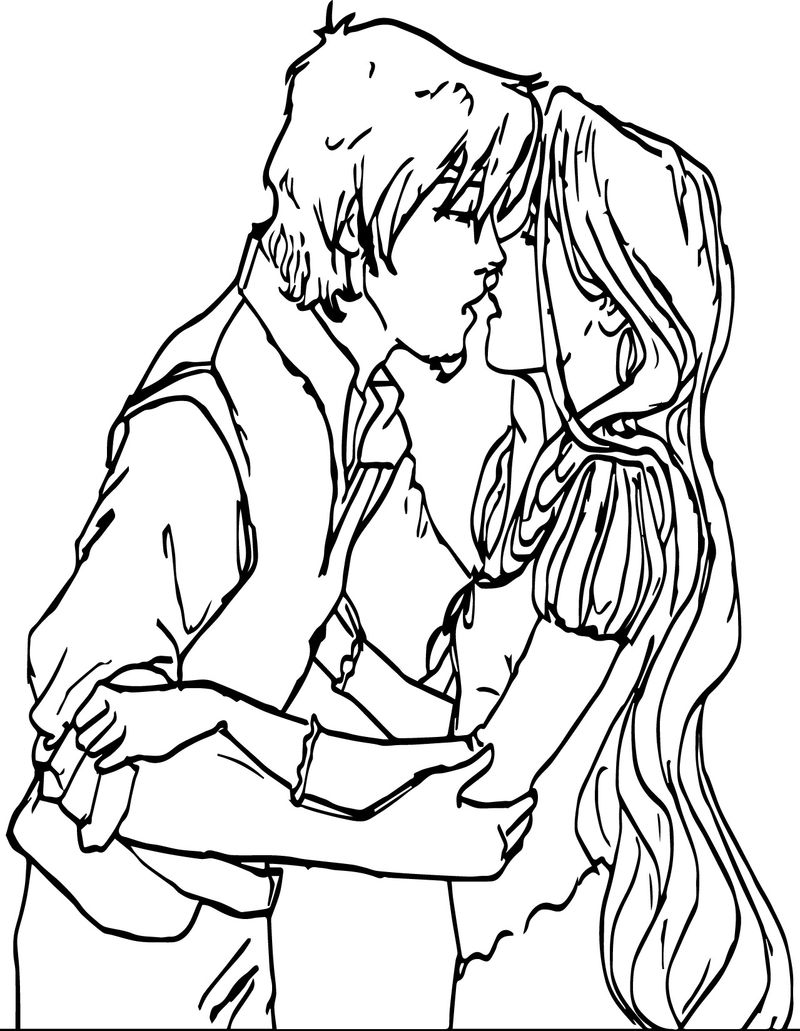 Flynn And Rapunzel Kiss Coloring Page