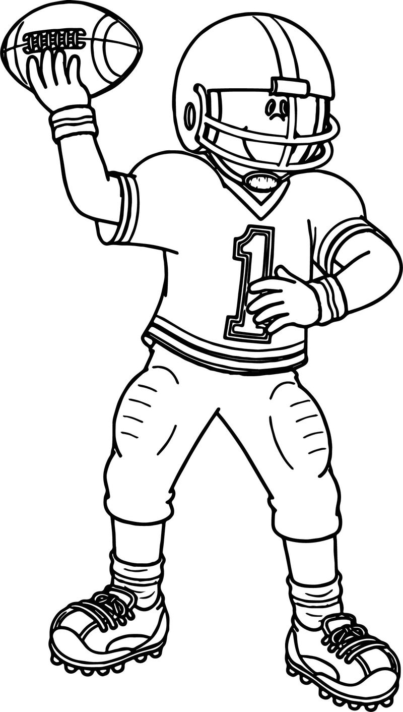Football Player Sport Football Playing Football Coloring Page