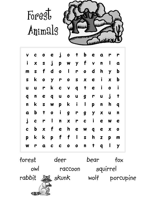 Forest Animals Easy Word Search For Kids