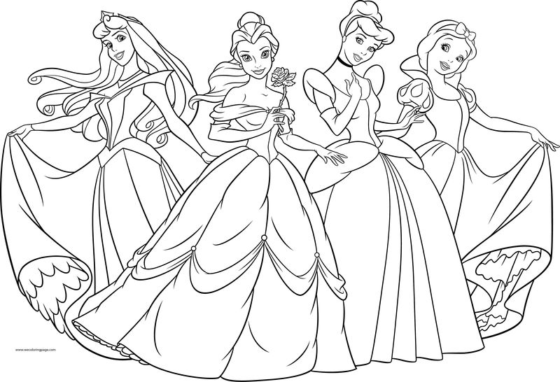 Four Disney Princess Coloring Page