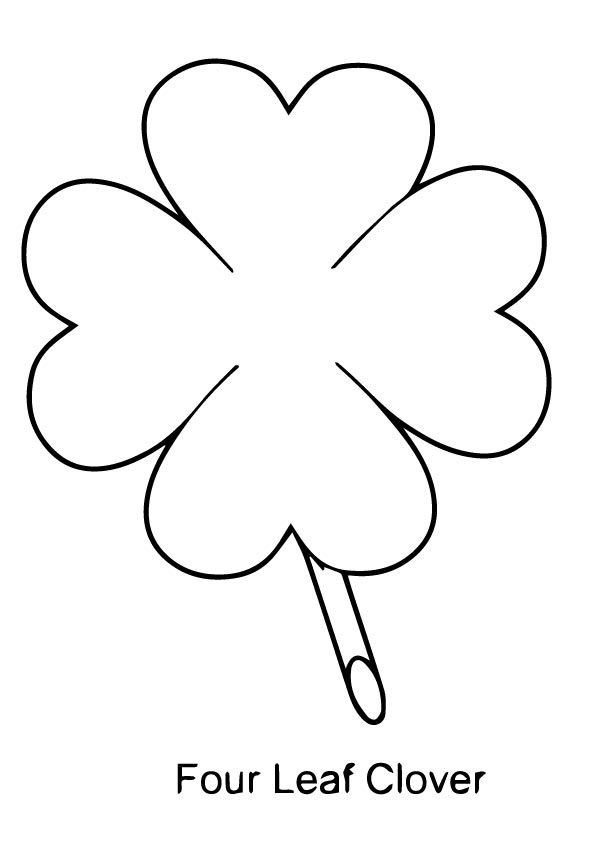 Four Leaf Clover Coloring Page Outline