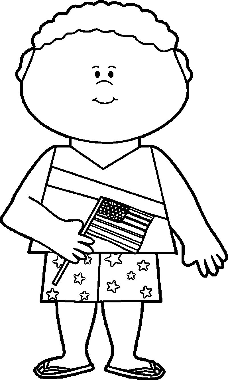 Fourth July Boy Celebrating Coloring Page