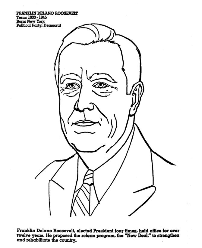 Franklin Roosevelt Presidents Day Coloring Page