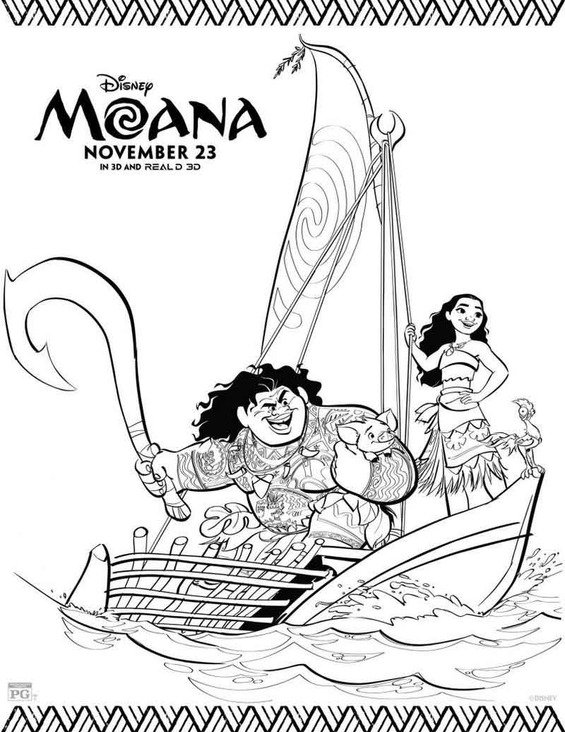 Free Printable Moana Coloring Pages Maui And Moana