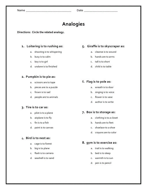 Free Analogy Worksheets For Middle School 001