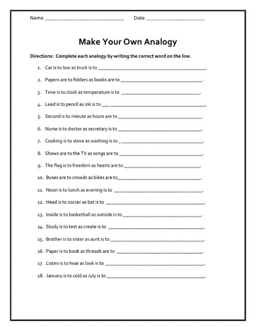Free Analogy Worksheets Language
