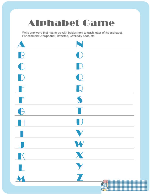 Free Baby Shower Game Printouts Alphabet