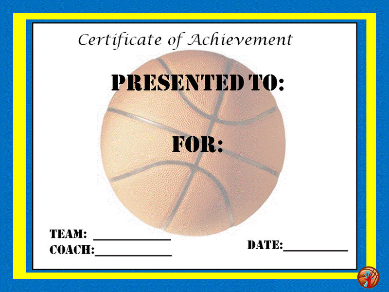Free basketball certificates for achievement