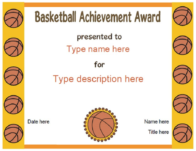 Free Basketball Certificates Paper 001