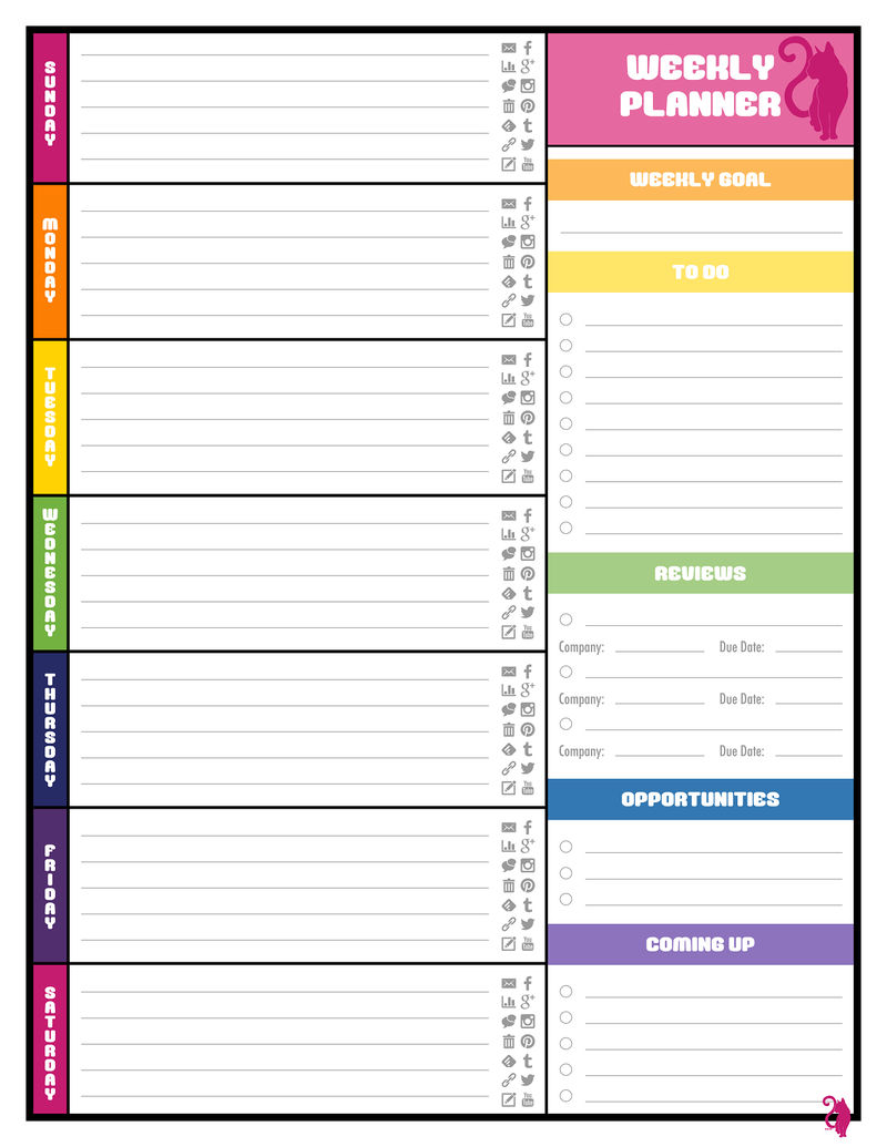 Free Colorful Planner Pages Calendar 001