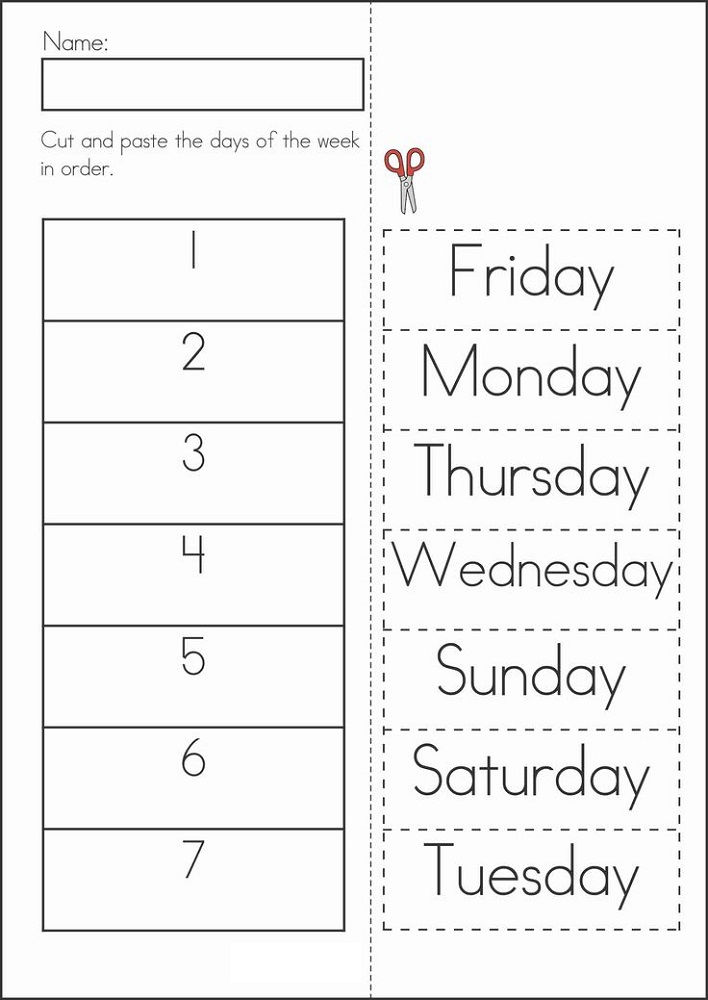 Free Days Of The Week Worksheets Activity