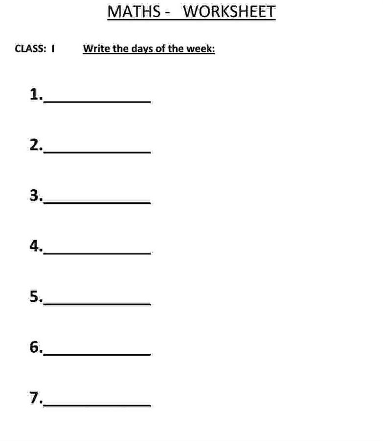 Free Days Of The Week Worksheets Write