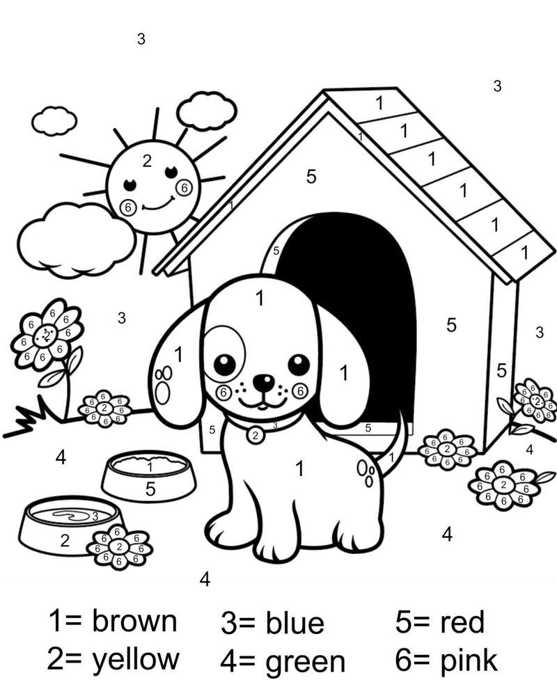 Free Dog Color By Number Printable