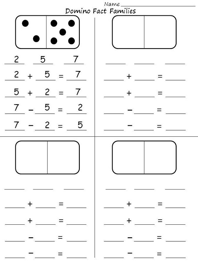 Free Fact Family Worksheets Simple