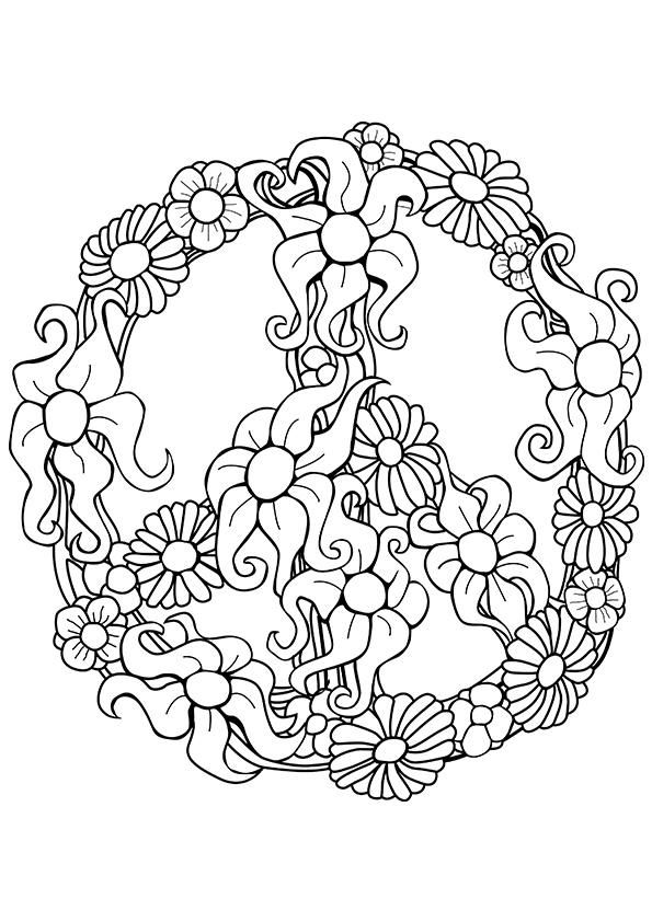 Free Flowers Peace Coloring Page For Adults