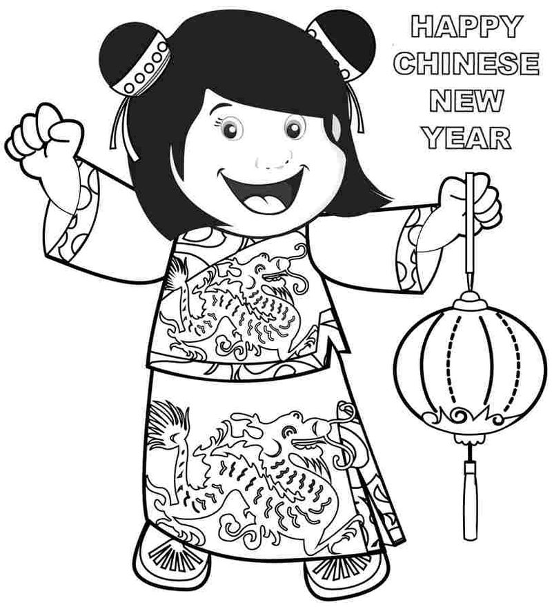 Free Happy Chinese New Year Coloring Page