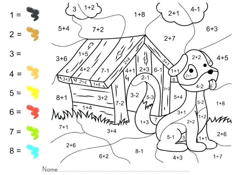 Free Printable Addition Coloring Worksheets For 2nd Grade
