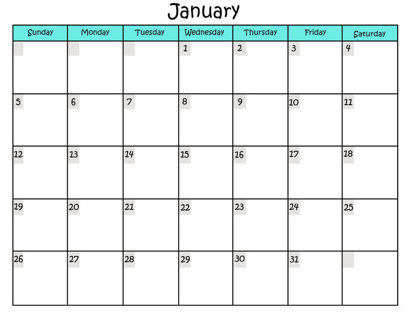 Free Printable Calendar Templates For January