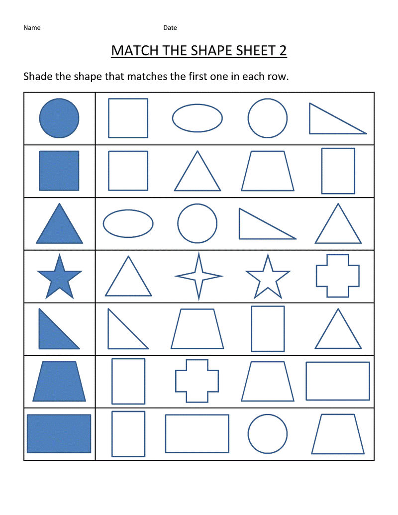 Free Printable Educational Worksheets Shape