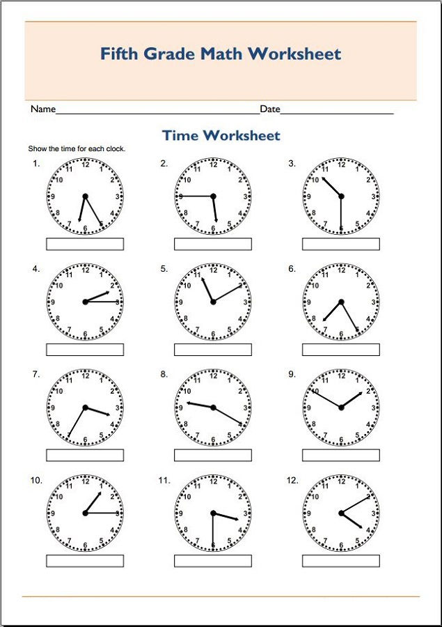 Free Printable Maths Worksheets For Grade 5 Time