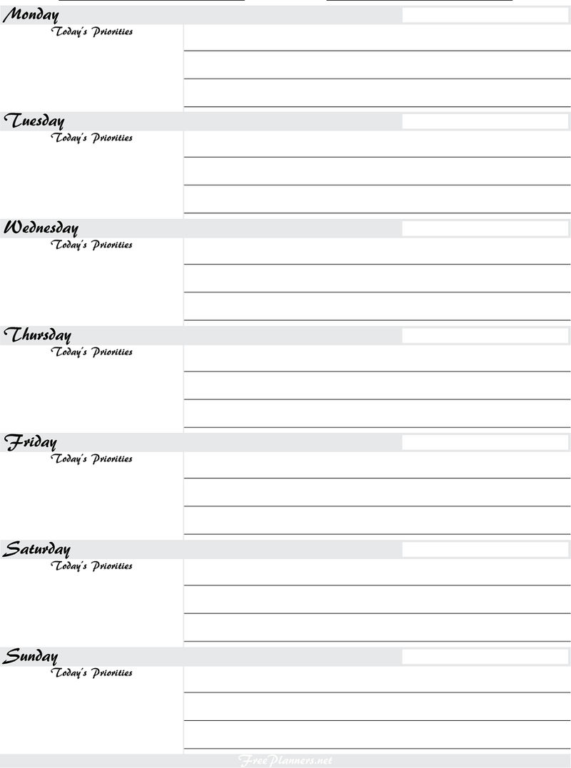 Free Printable Planner Pages Weekly