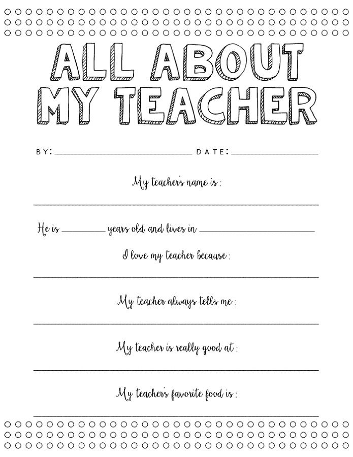 Free Printables For Teachers All About