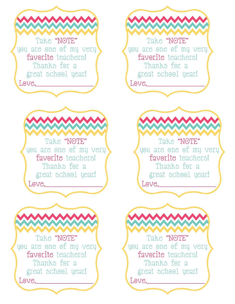 Free Printables For Teachers Gifts