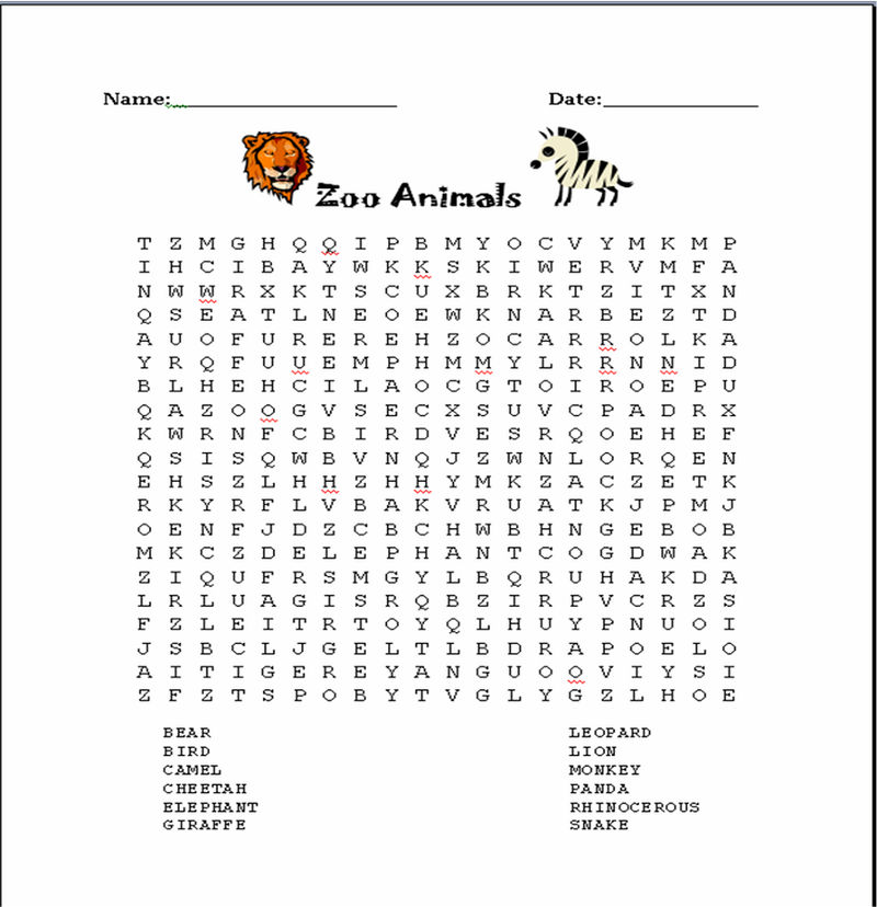 Free Puzzle Worksheets Zoo