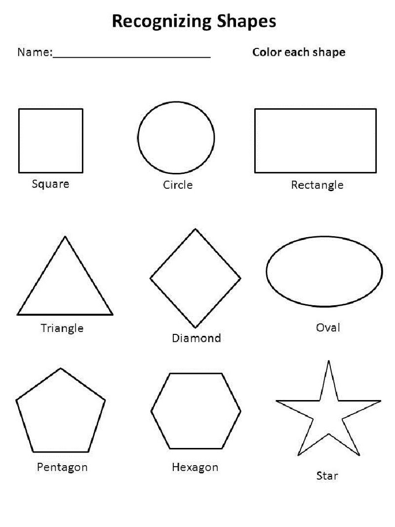 Free Shape Worksheets For Coloring